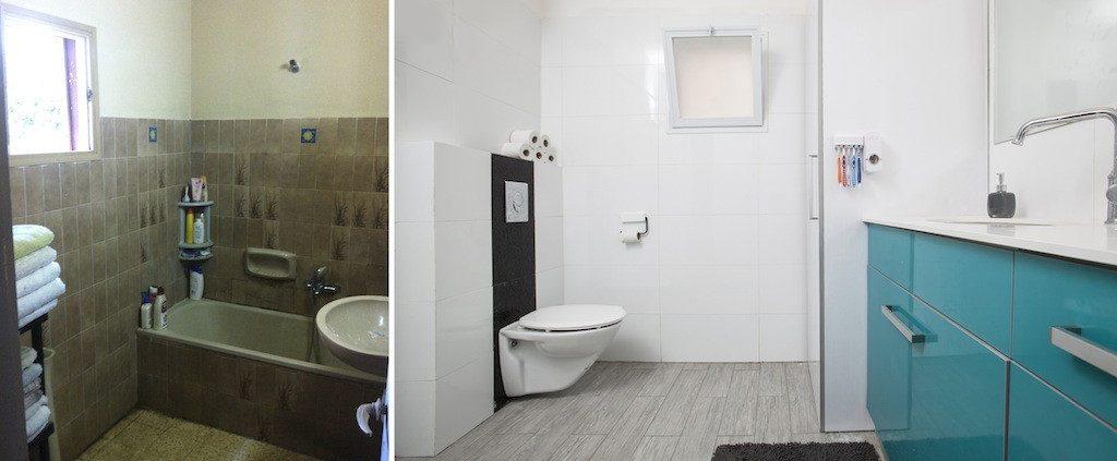 עיצוב אמבטית הבית עם ארון טורקיז